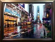 Sikuri Untitled Oil Paintings Time Square Scene New York Style With Custom Frame