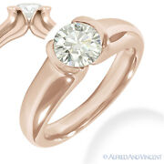 Round Cut Forever One D-e-f Moissanite 14k Rose Gold Solitaire Engagement Ring