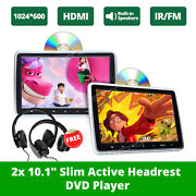 2xblack Hdmi 10.1 Lcd Car Headrest Active Monitor Pillow Dvd Player Game Kids E