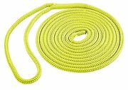 Yellow Dock Line Double Braid Polyester 15 Ft 1/2 In Rope Eye Splice Sl91634