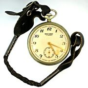 Antique Jean Cardot 17 Jewels Silver Tone Pocket Watch With Leather Watch Fob