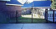 Steel - Iron Driveway Entry Gate 12 Ft Wide Dual Swing Residential Inc Post Pkg