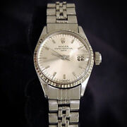 Vintage Rolex Date Lady Stainless Steel And 18k White Gold Watch Silver Dial 6517