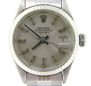 Rolex Date Ladies Stainless Steel Watch Jubilee Band Gold Bezel Silver Dial 6917