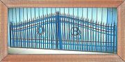 Driveway Gate 18and039 Wd Steel Iron Post Pkg Home Improvement Yard Garden Security