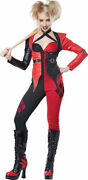 Psycho Jester Chick Costume Womens Harley Quinn Style Black And Red Jumpsuit Xs-lg