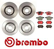 Front And Rear Coated Disc Brake Rotors Ceramic Pads Brembo Kit For Audi A4 05-08