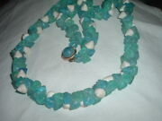 Vintage Blue And White Lucite Shell Long Rope Necklace