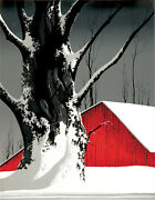 Eyvind Earle  Red Barn And Tree Snow Make Offer Dss