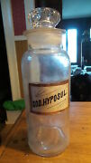 Lg Antique Apothecary Pharmacy Drug Bottle Glass Label And Stopper,sod.hyposul.