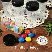 100 Tiny Tubes Vial Herbs Minerals Powder Container Black Screw On Cap 2810 New