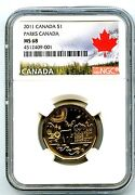 2011 Canada 1 Parks Centennial Loonie Ngc Ms68 High Grade Landscape Label Top=1