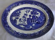 Antique 19th C W R Midwinter Blue Willow Pagoda Porcelain Serving Plate Platter