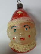 Vintage Antique Germany Christmas Tree Mercury Glass Painted Clown Face Ornament