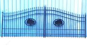 Custom Built Driveway Gate 16 Ft Wd Dual Swing. Handrails Fence Bed Residential