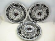 3 Vintage 1968 Oldsmobile 14 Hubcaps Wire Wheel Type Gm Covers