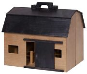 Large Toy Wood Barn Complete W/ Farm Animals And Fence - Amish Handmade In Usa
