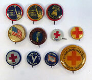{bjstamps} Lot Of 11 War Liberty Loan Red Cross Flag Button Pin Backs