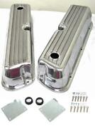 Small Block Ford 302 351w Finned Tall Polished Aluminum Valve Covers Sbf