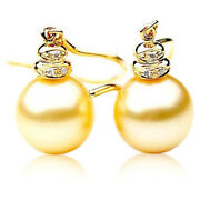 New Genuine 11mm Australian Golden South Sea Pearl Earrings Gold Pacific Pearls®