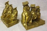 Vintage Pm Craftsman Bronze / Brass Wise Owl Scholar Bookends Book Ends