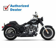 Rinehart Black 2 Into 1 Pipe And Tips End Caps Exhaust Harley Softail 1986-2017