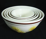 Hull Pottery Set of 5 Bowls Yellow Floral Daisy Sunflower Vintage 1950's Mixing