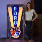 Neon Sign Ford Jubilee In Steel Can Built Tough Fomoco Truck Tractor Mustang Olp