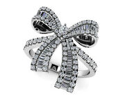 New Ladies 18k White Gold Round Baguette Diamond Bow Cocktail Ring Jewelry