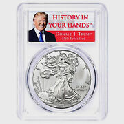 2017 Silver Eagle Dollar Pcgs Ms70 Coin First Strike Trump Label Ase