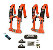 Pro Armor 4 Point 3 Padded Seat Harness Pair Mount Kit Bypass Orange General