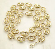 12mm Puffed Mariner Anchor Link Chain Necklace Real 10k Yellow Gold