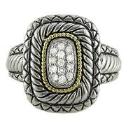 Andrea Candela 18k Gold And Sterling Silver Diamond Cable Halo Band Ring Acr106/18