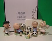 Lenox Peanuts Soccer Set New In Box W/coa Snoopy Linus Lucy Charlie Brown Sally