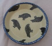 Crow Crows  Pie Plate Monroe Salt Works Pottery Maine HTF All Over Crow Pattern