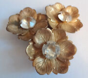 Rare Antique Art Nouveau Deco 1895-35s Huge Fur Clip Clear Rhinestone Flowers