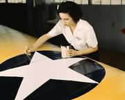 Woman Painting Naval Aircraft Insignia Wwii 11x14 Silver Halide Photo Print