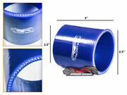 Blue 2.5 63mm 3-ply Silicone Coupler Hose Turbo Intake Intercooler For Chervy