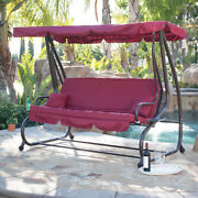 Outdoor Swing / Bed Patio Adjustable Canopy Deck Porch Seat Chair W/ 2 Pillow