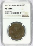 1912-h Australia 1 One Penny Coin - Ngc Au 58 Bn Graded - Km 23