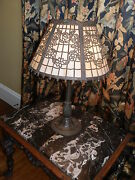 Amazing Antique Victorian Slag Glass Lamp With Beautiful Rose Filigree Detail