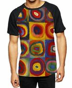 Wassily Kandinksy Colour Study Squares Menand039s All Over Baseball T Shirt - Bright