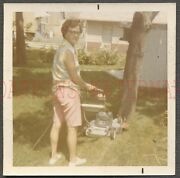 Vintage 1970s Color Photo Woman Cutting Grass W/ Electric Lawn Mower 750911