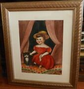 Little Girl In Red Dress With Cat- Modern Folk Painting-2012-antonio Romano