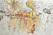William Papas Fun Fair Hand Colored Signed And Numbered Etching, Carnival Rides
