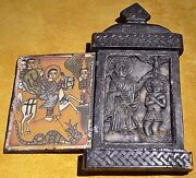 Antique Ethiopian Christian Wood Altar Carved Stone Painted Religious Icon Image