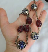 Antique Silver Moroccan Berber Tribal Hand Carve Glass Wrapped Filigree Necklace