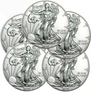Lot Of 5 - 2021 American Eagle Coins 1 Oz .999 Fine Silver Bu Type 2 - In Stock