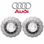 For Audi Pair Set Of 2 Front Drilled Vented Steel 365 Mm Brake Rotors Genuine