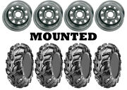 Kit 4 Cst Wild Thang Cu05 Tires 27x9-12/27x11-12 On Itp Delta Steel Silver Irs